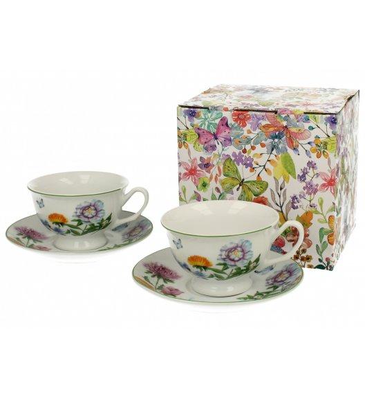 DUO FLOWER Komplet 2 filiżanek 180 ml ze spodkami LINDA / porcelana