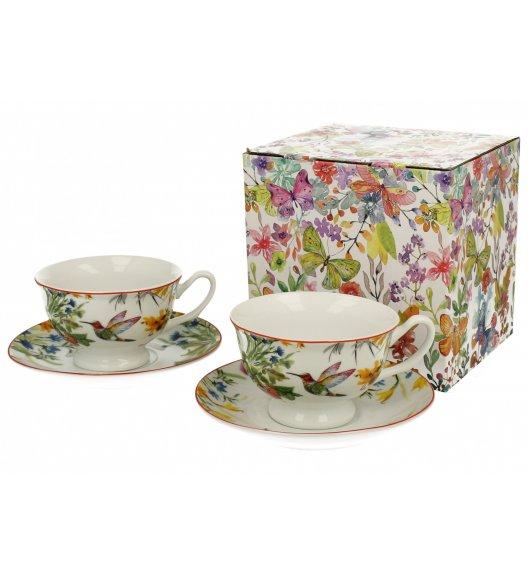 DUO FLOWER Komplet 2 filiżanek 180 ml ze spodkami LINNEA / porcelana