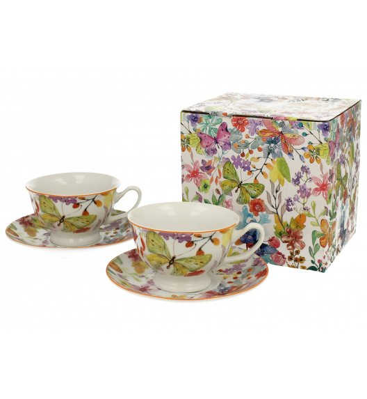 DUO FLOWER Komplet 2 filiżanek 180 ml ze spodkami CUBIC / porcelana