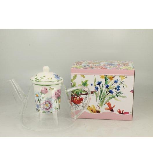 DUO FLOWER Dzbanek szklany 1200 ml z zaparzaczem porcelanowym LINDA