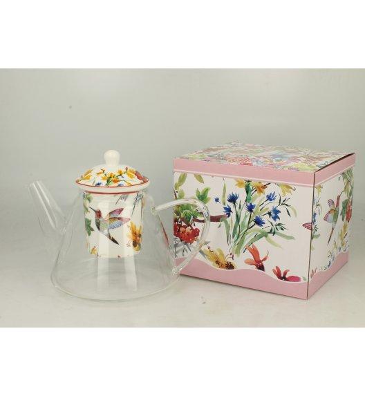 DUO FLOWER Dzbanek szklany 1200 ml z zaparzaczem porcelanowym LINNEA
