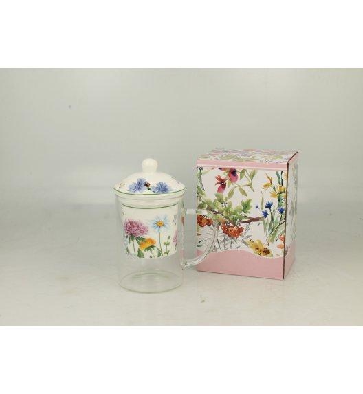 DUO FLOWER Kubek szklany 450 ml z zaparzaczem porcelanowym LINDA