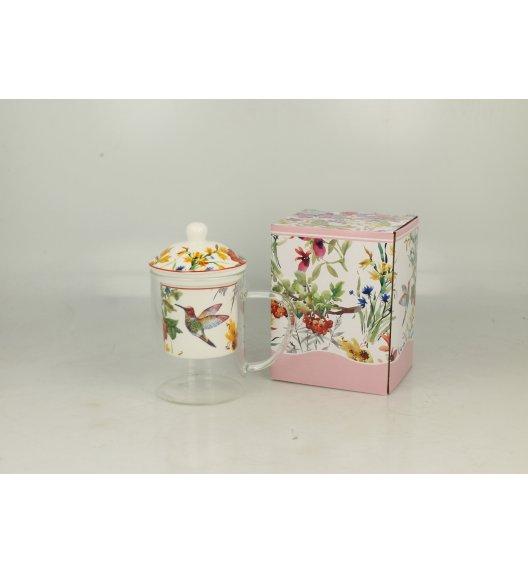 DUO FLOWER Kubek szklany 450 ml z zaparzaczem porcelanowym LINNEA