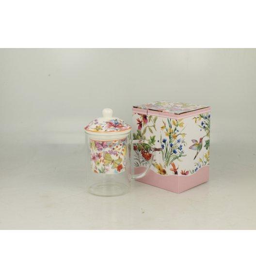 DUO FLOWER Kubek szklany 450 ml z zaparzaczem porcelanowym CUBIC