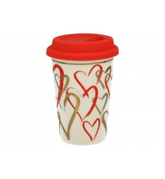DUO VARIUS Kubek z silikonową pokrywką 380 ml SIMPLY LOVE F / Porcelana
