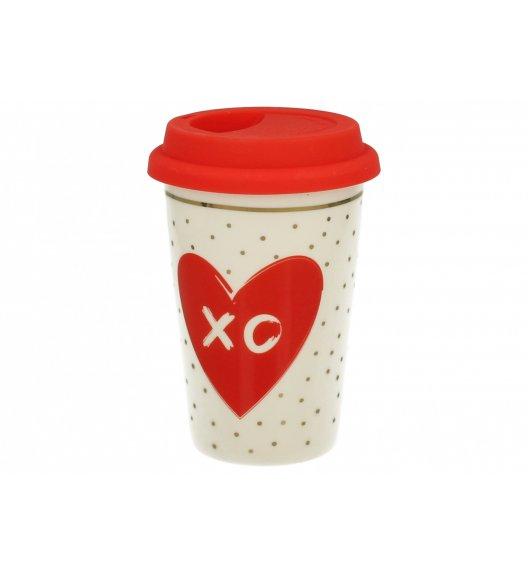 DUO VARIUS Kubek z silikonową pokrywką 380 ml LOVE XO / Porcelana