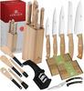 GERLACH NEW COUNTRY Zestaw noży w bloku 6 elementów + ostrzałka 2w1 + nożyce do drobiu + komplet desek Natur + przybory Natur / Drewniana rękojeść