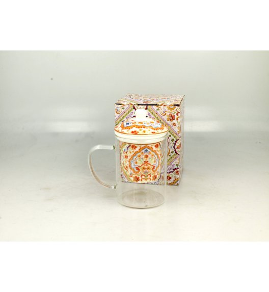 DUO ESPANIA Szklany kubek z porcelanowym zaparzaczem 450 ml