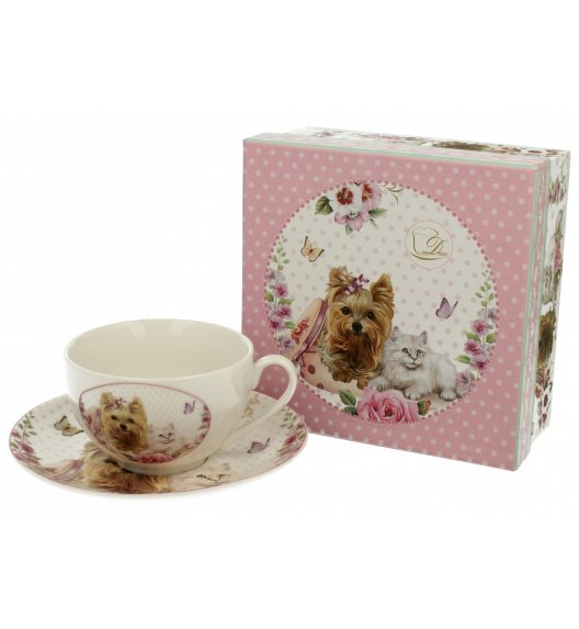 DUO STYLE Filiżanka ze spodkiem 250 ml PUPPIES / Porcelana