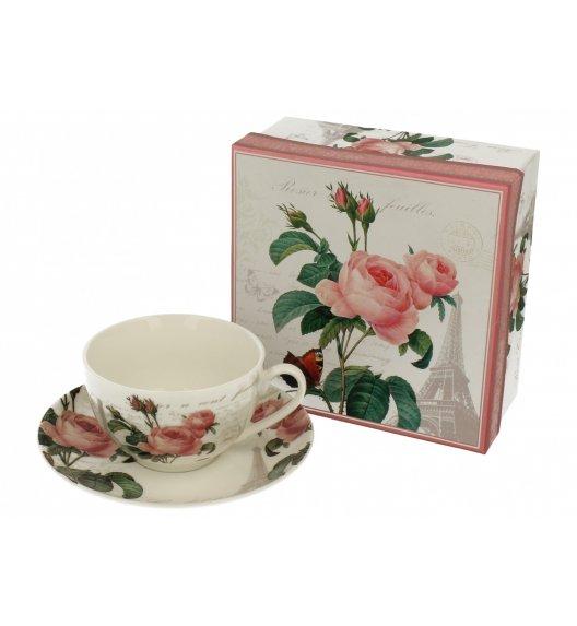 DUO STYLE Filiżanka ze spodkiem 250 ml PINK ROSE / Porcelana
