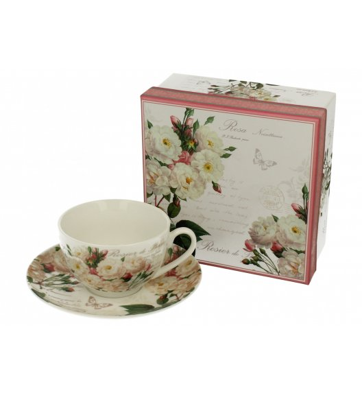 DUO STYLE Filiżanka ze spodkiem 250 ml WHITE ROSE / Porcelana