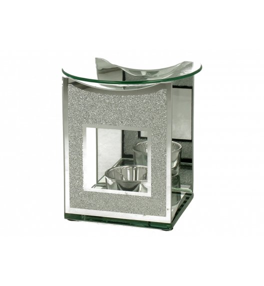 DUO SILVER GLITTER Kominek zapachowy szklany 12 cm / Srebrny