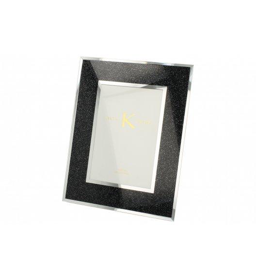 DUO BLACK GLITTER Ramka szklana na zdjęcia 25 cm / Czarna