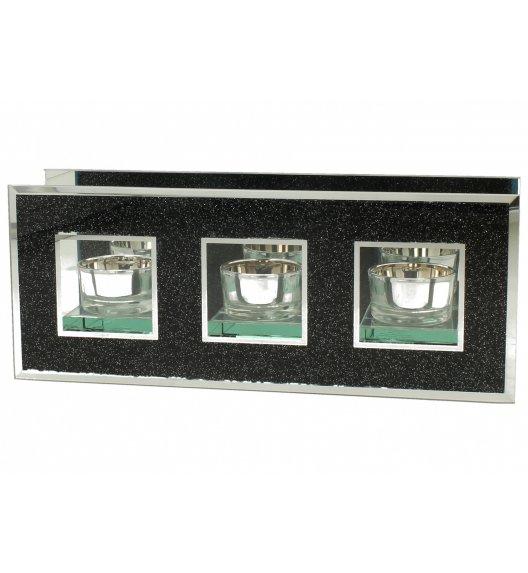 DUO BLACK GLITTER Świecznik szklany 26 cm / Czarny