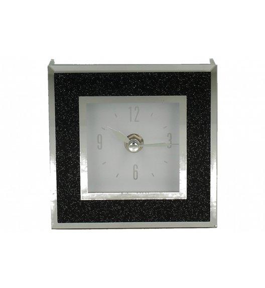 DUO BLACK GLITTER Zegar szklany 14 cm / Czarny