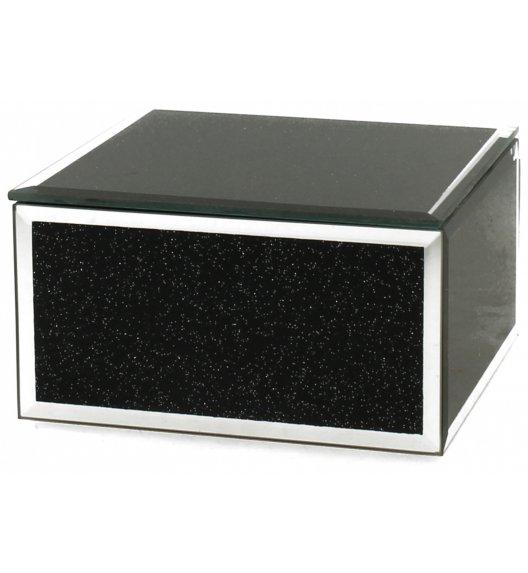 DUO BLACK GLITTER Szkatułka szklana na biżuterię 12 cm / Czarna