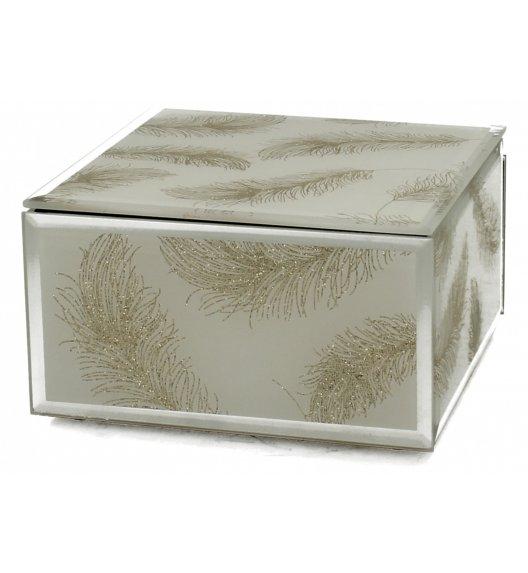 DUO IVY Szkatułka szklana na biżuterię 12 cm / Biało - złota