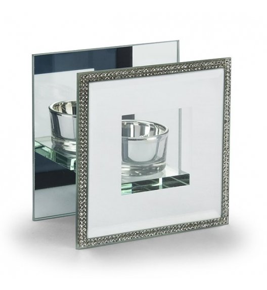 DUO CRYSTAL Świecznik szklany 11 cm / Srebrny