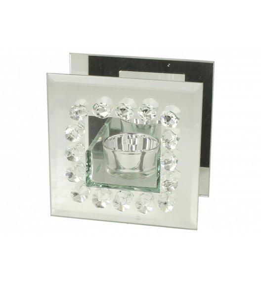 DUO DIAMENT Świecznik szklany 11 cm / Srebro