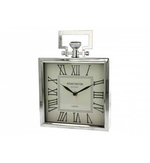 DUO SILVER Zegar stojący kwadratowy 27 cm / Srebrny