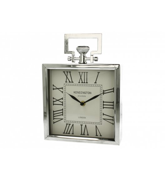 DUO SILVER Zegar stojący kwadratowy 20 cm / Srebrny