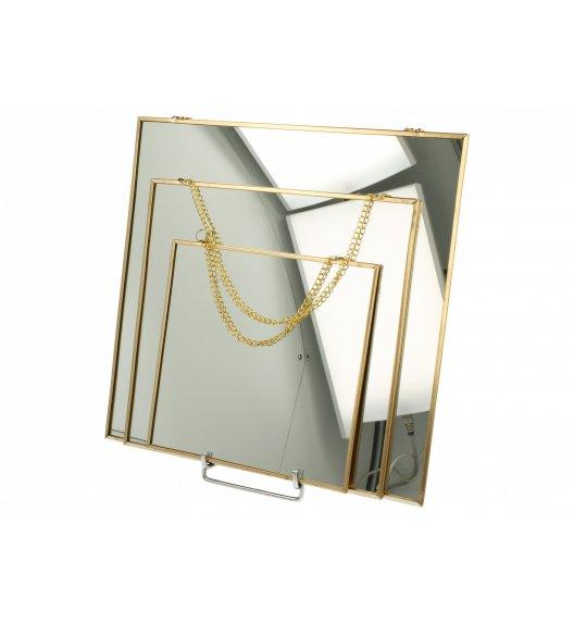 DUO GOLD Zestaw 3 kwadratowych luster szklanych / Złoto