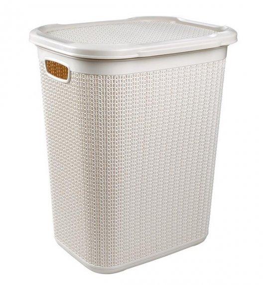 ÜÇSAN PLASTIK KNIT Kosz na pranie z tworzywa PP 50 L + pokrywka / kremowy