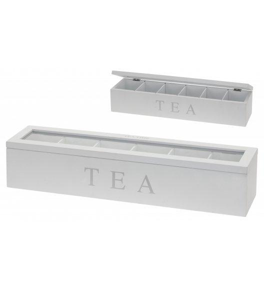 HOME & STYLING COLLECTION Drewniane pudełko do przechowywania herbaty białe / 6 przegródek / Koopman