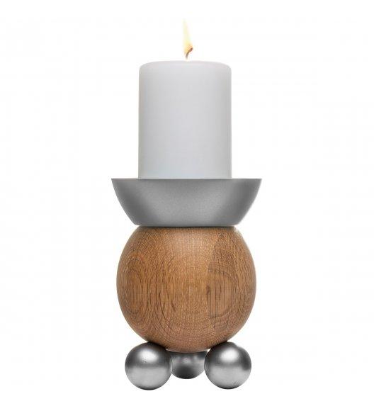 SAGAFORM Dębowy świecznik 14 cm NATURE brązowo-szary / FreeForm