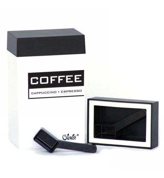 O'LaLa Pojemnik prostokątny z miarką do kawy / 1,25 L / czarno-biały COFFE AND TEA / FreeForm