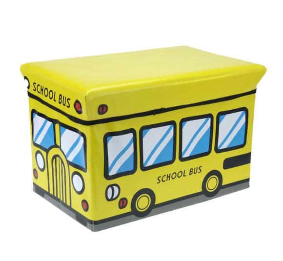 WYPRZEDAŻ! EH EXCELLENT HOUSEWARE Pojemnik / pufa do przechowywania dla dzieci School Bus 47L  / Koopman