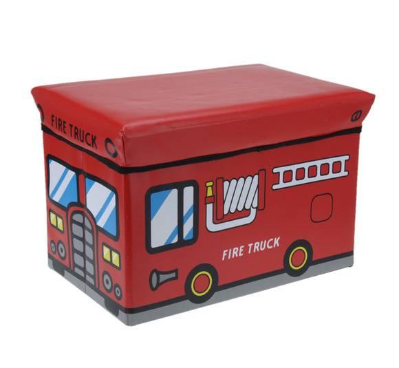 WYPRZEDAŻ! EH EXCELLENT HOUSEWARE Pojemnik / pufa do przechowywania dla dzieci Fire Truck 47L  / Koopman