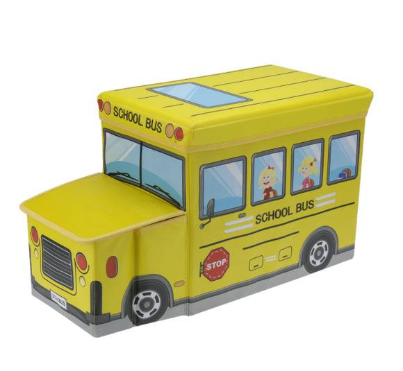 WYPRZEDAŻ! EH EXCELLENT HOUSEWARE Pojemnik / pufa do przechowywania dla dzieci Autobus szkolny 47L  / Koopman