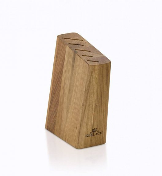 GERLACH NATUR Komplet 5 noży w bloku + ostrzałka 2w1 + deska dębowa