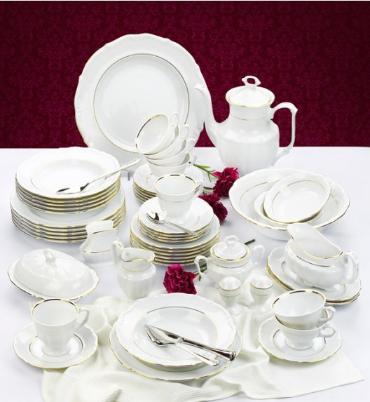 CHODZIEŻ MARIA TERESA Serwis obiadowo-kawowy 98 el Złota linia / 12 osób / porcelana