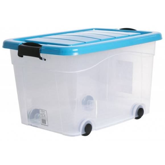 ODELO PLASTIC Skrzynia do przechowywania 20 L / turkusowe zamknięcie na klips / OD8013