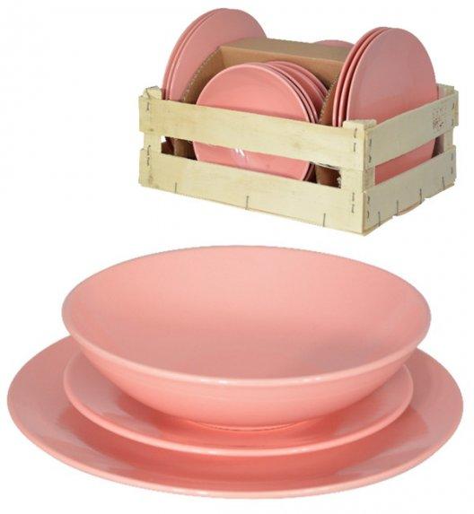 TADAR EGE Serwis obiadowy 18 elementów dla 6 osób różowy / ceramika