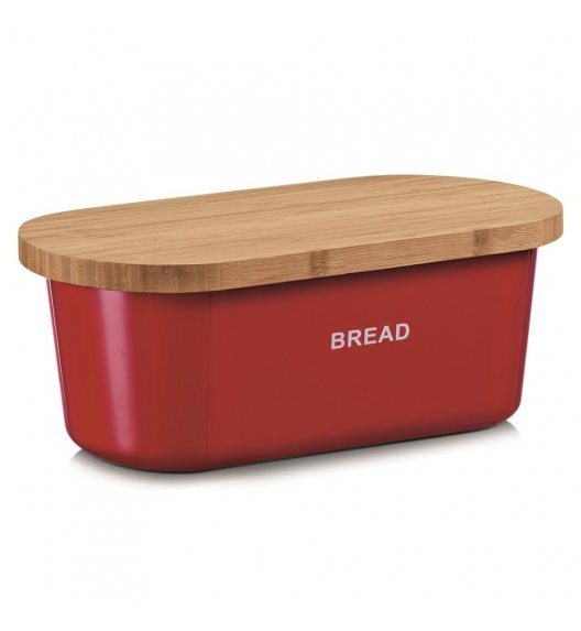 ZELLER BREAD Chlebak z deską do krojenia 2w1 / 36 cm / czerwony / tworzywo sztuczne
