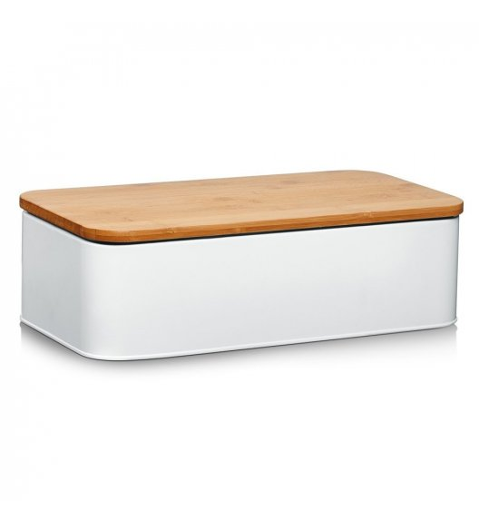 ZELLER Chlebak z bambusową deską do krojenia 2w1 / 42,5 cm / biały / metal