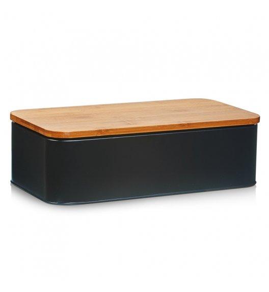 ZELLER Chlebak z bambusową deską do krojenia 2w1 / 42,5 cm / czarny / metal