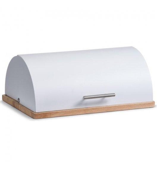 ZELLER Chlebak z drewnianą podstawką 40 cm / biały / drewno kauczukowe