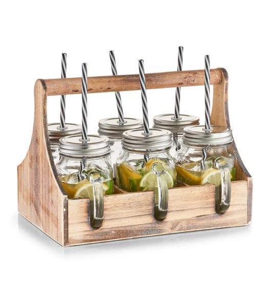 ZELLER Szklane słoiczki w pudełku zestaw 6 szt / 500 ml / drewno
