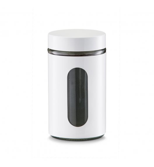 ZELLER Okrągły pojemnik do przechowywania 1200 ml biały / szkło