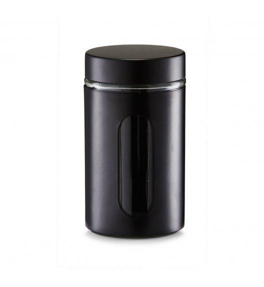 ZELLER Okrągły pojemnik do przechowywania 900 ml czarny / szkło