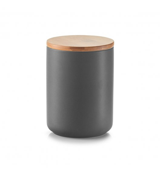 ZELLER ANTRACYT Pojemnik z bambusową pokrywką 650 ml / ceramika