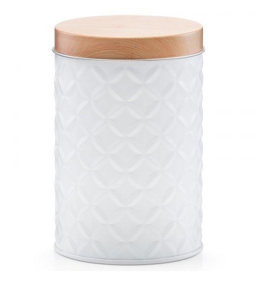ZELLER SCANDI Okrągłe pudełko z drewnianą pokrywką Ø8,4 cm białe / metal