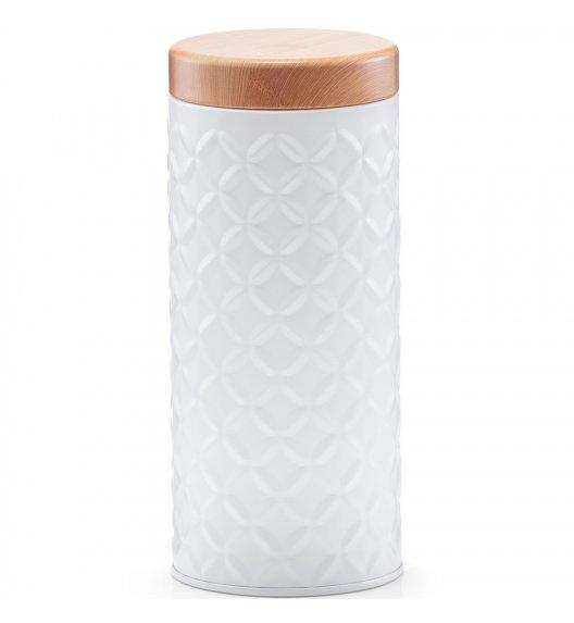 ZELLER SCANDI Okrągłe pudełko z drewnianą pokrywką Ø7,6 cm białe / metal