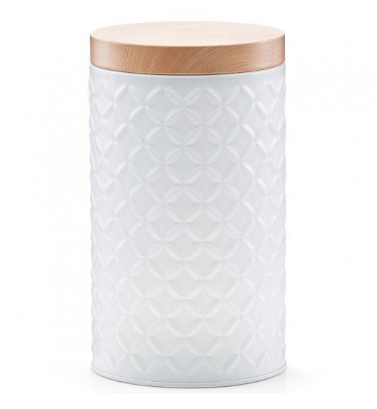 ZELLER SCANDI Okrągłe pudełko z drewnianą pokrywką Ø10,8 cm białe / metal