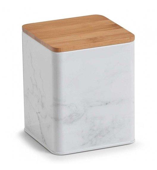 ZELLER MARMUR Kwadratowe pudełko z drewnianą pokrywką 15 cm białe / metal