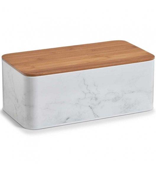 ZELLER MARMUR Kwadratowe pudełko z drewnianą pokrywką 23 cm białe / metal